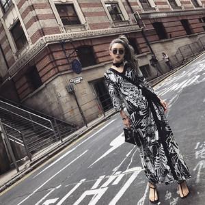 SUNYUER春秋连衣裙女春装2019新款宽松九分袖两件套时尚套装气质
