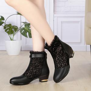 大码网靴低跟镂空靴真皮蕾丝短靴凉<span class=H>靴子</span><span class=H>女鞋</span>春夏妈妈单靴女士<span class=H>鞋子</span>