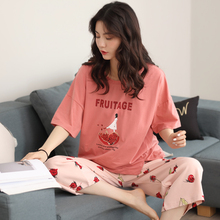 Sleepwear Female Summer Cotton Short Sleeve Seven-cent Pants Korean Sweet and Lovely Princess Wind Summer Home Suit