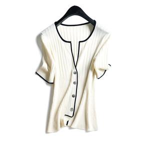 品质推荐单款 莫代尔绢丝面料 抽条显瘦五分袖撞色边针织开衫女夏