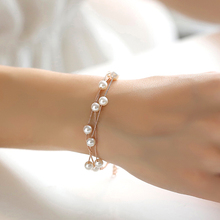 Net Red Bracelet Female Korean Edition Simple Student Forestry Individual Lovers and Girlfriends Imitate Pearl Fresh Baitao Multilayer Jewelry