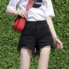 Jeans shorts, waist high, new summer 2019 black hollow thin net red student A-type loose-legged hot pants