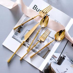 欧美圣火系列香槟金色西餐不锈钢<span class=H>刀叉</span>勺套装 304西餐餐具甜品叉勺