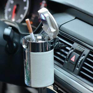 高档汽车烟灰缸出<span class=H>风口</span>可悬挂式车载碳纤维烟缸带led灯夜男士礼品