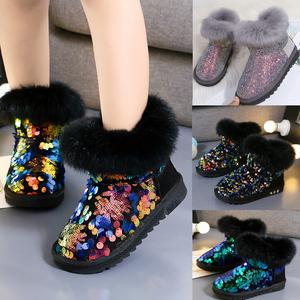 女童雪地靴2019新款秋冬季加绒加厚