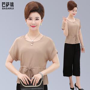 2019新款中老年女装夏装短袖t恤衫中年<span class=H>妈妈装</span>雪纺套装上衣阔腿裤