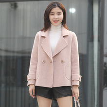 Spring 2019 New Pure Long Sleeve Wool Overcoat Women's Korean Version Short Woman Cashmere Overcoat