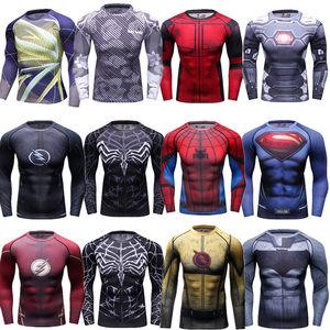 超人蜘蛛俠<span class=H>緊身衣</span> 男運動長袖T恤吸濕排汗透氣跑步訓練騎行健身服