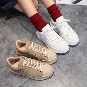 <span class=H>现货</span>  韩版新款休闲板鞋秋季厚底松糕小白鞋单鞋贝壳鞋运动鞋<span class=H>女鞋</span>
