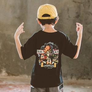 男孩短袖<span class=H>t恤</span>纯棉宽松韩版洋气男童嘻哈个性齐天大圣黑色悟空潮流