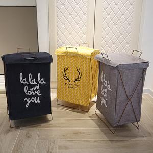 脏衣服收纳棉麻脏衣服收纳筐可折叠支架防水超大脏衣篮防水洗衣篮