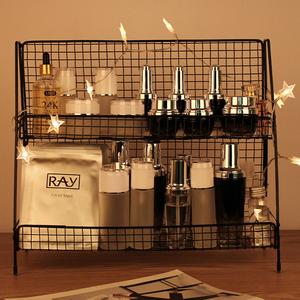 铁艺网红化妆品卫生间置物架厨房桌面双层整理架宿舍收纳神器架子