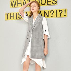 潮流<span class=H>女裝</span>馬甲2019新款時尚英倫風格子修身顯瘦中長上衣A4J583601