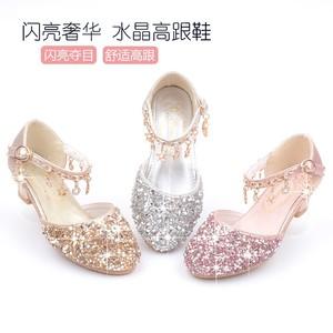 女童高跟公主<span class=H>皮鞋</span>钢琴表演主持人银色中大童小女孩水晶鞋演出鞋