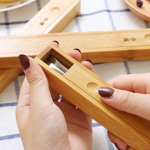 方便携带成人两件旅游日式儿童餐具套装木质随身套装筷子便携盒装