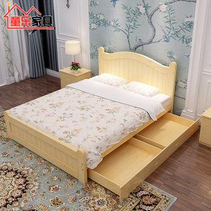 新款公主床女孩实木经济型双人床低箱1.8米卧室<span class=H>实木床</span>支持定制