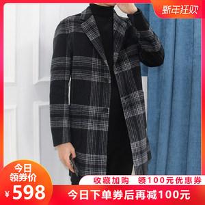 双面羊毛呢<span class=H>大衣</span>2018新款英伦黑白格纹中长款男士无羊绒风衣外套韩
