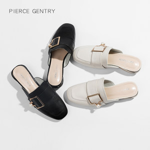 2018夏新款女鞋真<span class=H>皮</span>百搭包头半<span class=H>拖鞋</span>粗跟<span class=H>时尚</span>外穿懒人珍珠扣穆勒鞋
