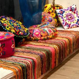 <span class=H>地毯</span>吉普赛风格印度手工长方形地垫北欧美式条纹茶几榻榻米毯子