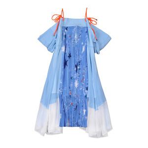 春夏季新品肩带系绳吊带印花百褶不规则雪纺中长款宽松显瘦连衣裙