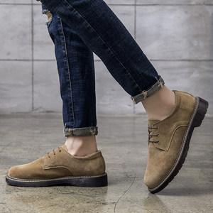 夏季低帮男士英伦磨砂反绒皮工装鞋 翻毛皮真皮休闲鞋大头鞋