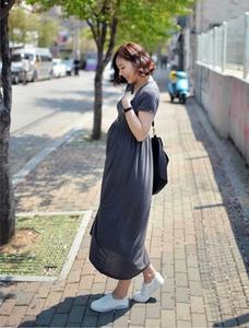 2019春夏装新款孕妇<span class=H>连衣裙</span>韩国版高腰短袖中长款遮肚显瘦宽松长裙
