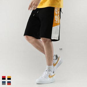 BJHG<span class=H>夏</span>欧美嘻哈宽松撞色拼接<span class=H>印花</span>街舞短裤潮<span class=H>男</span>休闲运动哈伦五分裤