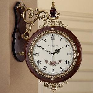 豪华黄铜欧式双面挂钟客厅现代简约静音创意钟表美式石英钟大号