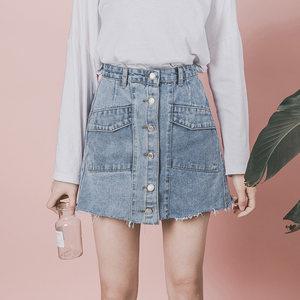 高腰显瘦A字牛仔<span class=H>短裙</span>女2019夏季chic新款单排扣百搭包臀半身裙潮