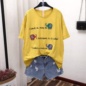 夏季新款短袖<span class=H>T恤</span>竹节棉上衣贴布大象透气薄款大码女装熙缘1315 潮