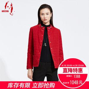 TANGY/天意2018冬季新品商场同款绣花短款立领<span class=H>棉衣</span>棉服女士外套