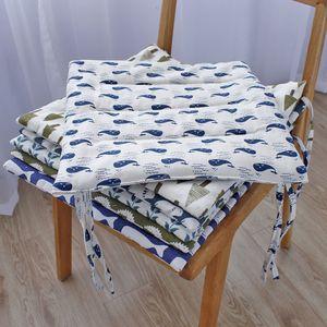 棉麻亚麻<span class=H>坐垫</span>餐椅办公室椅垫子绑带防滑四季田园多色薄款简约布艺