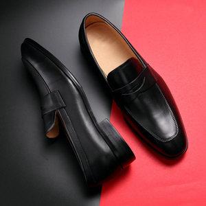 乐福<span class=H>鞋</span>男英伦潮流商务休闲男<span class=H>鞋</span>真皮韩版懒人一脚蹬尖头皮<span class=H>鞋</span>大小码