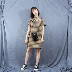 2018新款改良时尚学生日常格子连衣裙短款女夏立领斜襟<span class=H>旗袍</span>国风