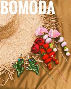 BOMODA夏季巴厘岛度假风泳池派对耳环水钻<span class=H>菠萝</span>仙人掌刺绣花朵耳夹