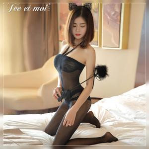 情趣性感吊带连体黑丝袜成人宫廷蕾丝连身袜女式开档免脱诱惑衣服