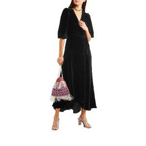 真丝丝绒黑色礼服优雅知性中长款气质连衣裙V领七分袖宴会裙子