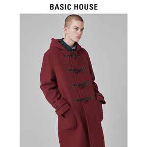 Basic House/百家好<span class=H>男装</span>冬季新款连帽纯色呢子大衣中长款BSCA71C1