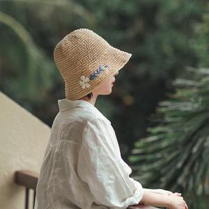 柔软小沿盆帽钩针小雏菊刺绣草帽女夏天可折叠渔夫帽遮阳帽太阳帽