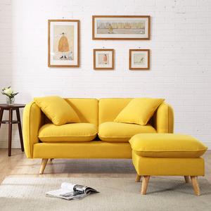 现代简约小户型黄色两人北欧客厅整装卧室网红双人三人位布艺<span class=H>沙发</span>