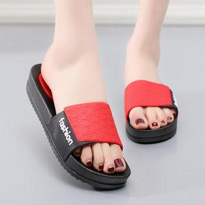 新款松糕中跟厚底塑料<span class=H>拖鞋</span>旅游沙滩防滑凉<span class=H>拖鞋</span>女夏季户外外穿居家