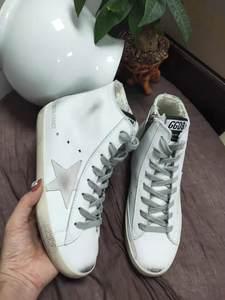韩国GGDB新款版真皮<span class=H>女鞋</span>高帮小脏鞋内增高休闲短靴子星星小白鞋男