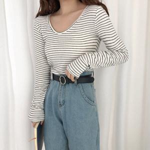 韩版chic磨毛加厚细条纹修身保暖打底衫圆领套头长袖<span class=H>T恤</span>女学院风