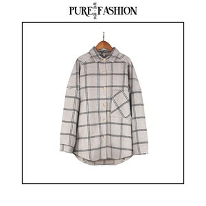 2018冬季新品   潮流复古呢料格子衬衫上衣宽松加厚