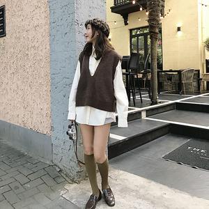 毛衣背心马甲女春秋针织外套学院风韩版长袖衬衫上衣时尚<span class=H>两件套</span>装