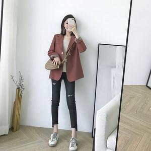MUKOK<span class=H>秋季</span>港風外套<span class=H>女</span>2018新款時尚修身純色v領小西裝