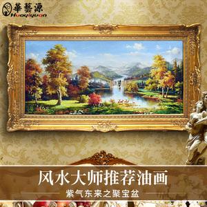 华艺源欧式手绘山水风景<span class=H>油画</span>客厅装饰画美式玄关壁画餐厅挂画定制