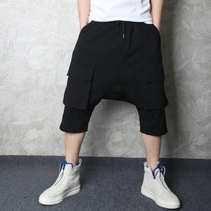 夏季潮牌嘻哈男士短裤七分哈伦裤个性潮男暗黑风大口袋垮裤<span class=H>中裤</span>男