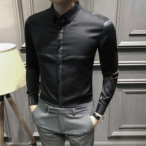 秋冬季男士长袖衬衫条纹韩版修身休闲衬衣男时尚气质长袖寸衣男