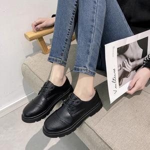 小皮鞋女2019春季新款粗跟最新注册白菜全讯网黑色平底英伦风单鞋布洛克<span class=H>女鞋</span>子潮